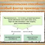 Предпринимательские способности как основной фактор производства